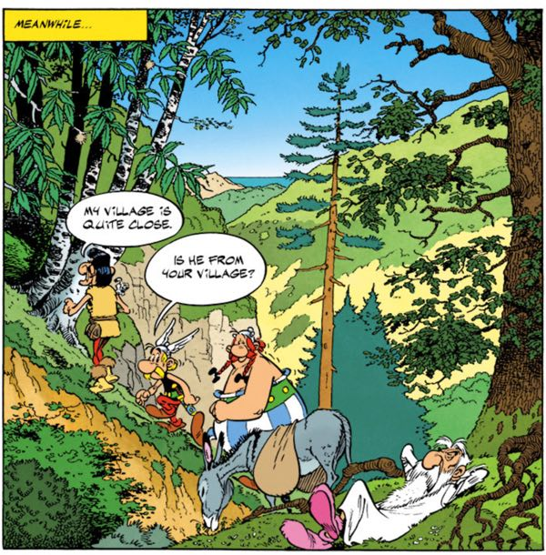 Uderzo draws a landscape shot in Corsica, complete with a relaxing Druid