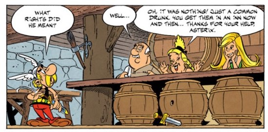 The innkeeper's family stands behind barrels