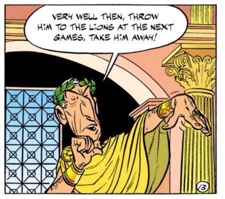 Caesar gives a thumbs down gesture, basically.