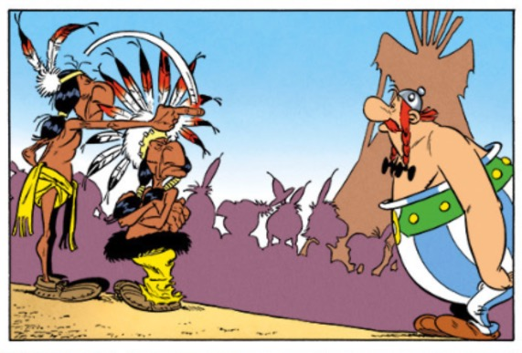 Obelix watches as the Native American gesticulates in his general direction