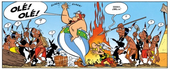 Asterix dances with an Ole from the Spaniards