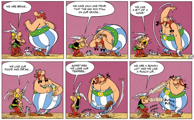 Asterix and Obelix explain who they are in pantomime