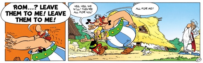 Obelix gets Romans for his birthday