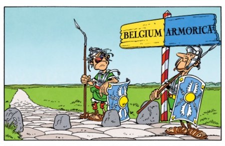 Border guards at the Belgium/Armorica divide. Armorica is a cushier place.