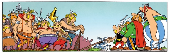 Beglans meet the Armoricans, and Uderzo lines up Asterix and his friends into a perfect triangular formation.