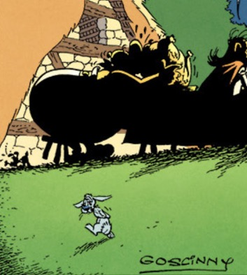 """Uderzo drew a bunny sadly looking at Goscinny's signature on the final page of """"Asterix in Belgium."""""""
