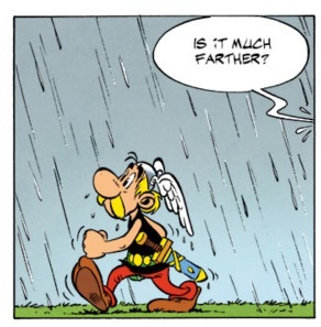 After Goscinny's death, Uderzo darkened the skies and started the rain in the book.