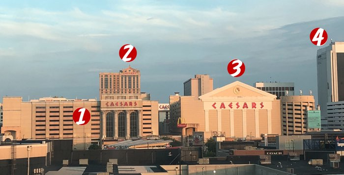 Layout of Caesars Atlantic City from the point of view of the Sheraton