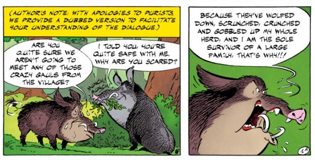 The boars discuss their inevitable fate as food for Obelix...