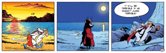 The Druid Getafix waits for his ship to come in with the Magic Potion ingredient