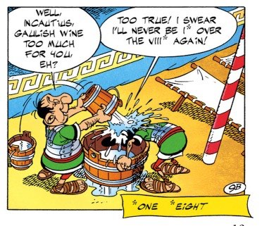 Albert Uderzo over-explains his jokes with caption boxes. Why?!?