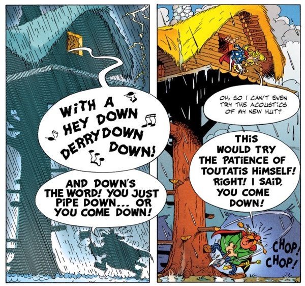 Cacofonix brings the rain in Asterix and the Magic Carpet