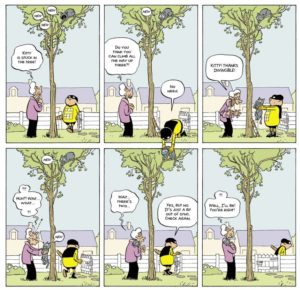 Pascal Jousselin's Invincible saves a cat from a tree by using a second tier of panels.