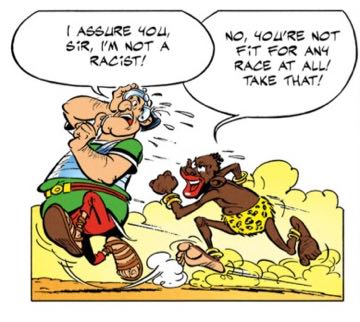 The attacking slave versus the Roman Soldier who is not a racist, he swears.