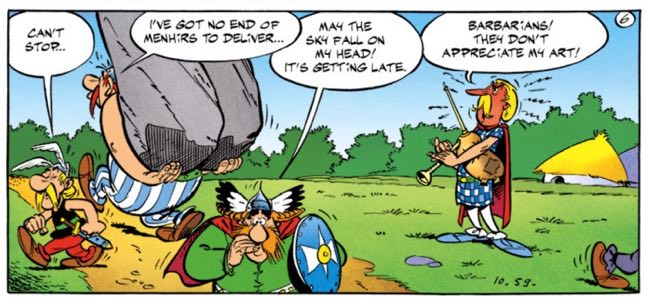 """In """"Asterix the Gaul,"""" we can see the first reference to Chief Vitalstatistix's concern about the sky falling on him."""
