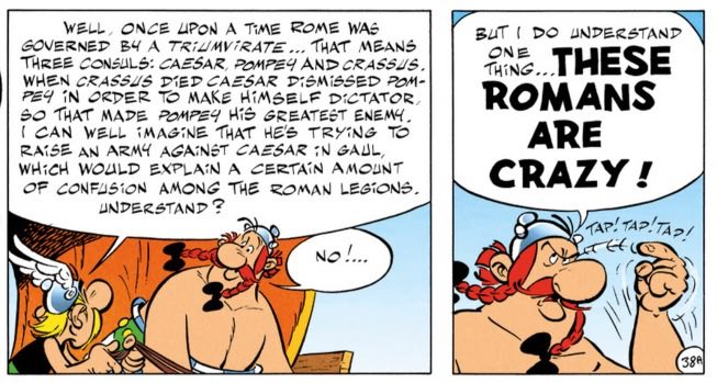Asterix explains the history of Pompey and Caesar and it's not quite right