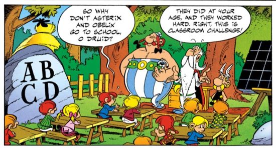 Did Asterix and Obelix go to school in the Village? Yes, they did!