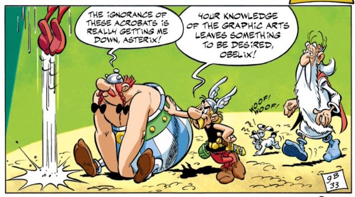Obelix laments not know more about superheroes in Asterix and the Falling Sky by Albert Uderzo