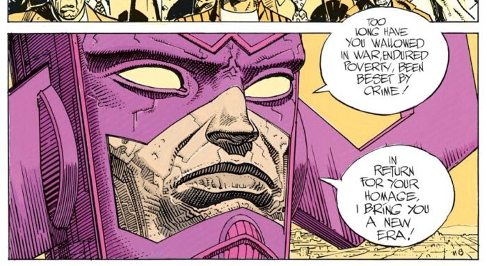 Galactus demands homage from Earth in Silver Surfer Parable by Stan Lee and Jean Moebius Giraud.
