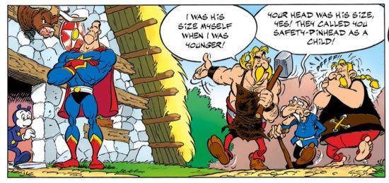 The cast of Asterix thinks superheroes have pinheads