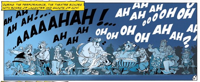 Asterix and friends attend one of their own movies.