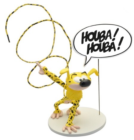 """Marsupilami toy statue with long tail and word balloon saying """"Houba!"""""""