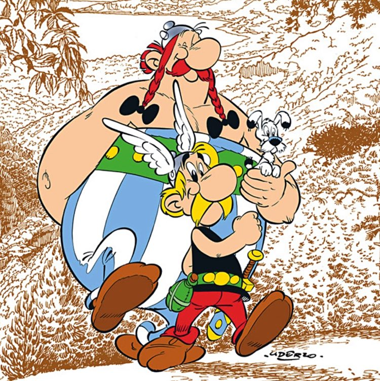 Asterix and Obelix walking in Corsica