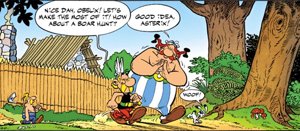 From Asterix the Legionary, Asterix and Obelix go off on a boar hunt