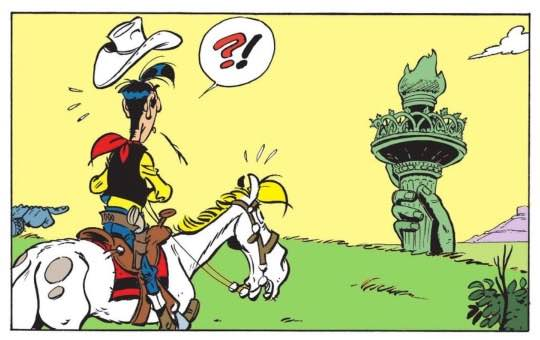 The Statue of Liberty's hand pops up in the middle of the Western plains.  Lucky Luke and Jolly Jumper are on the case!