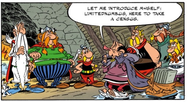 """Limitednumbus is sent by Rome to take a census in the Village.  From """"Asterix and the Picts"""" by Ferri and Conrad"""