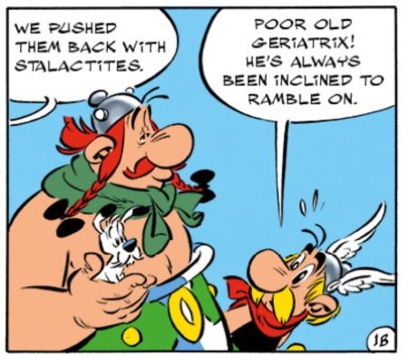 """Asterix, Obelix, and Dogmatix in """"Asterix and the Picts"""""""