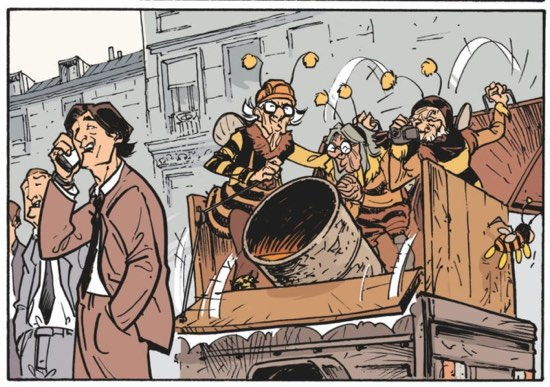 Not even a bee costume can deter Pierrot from fighting for his political beliefs.