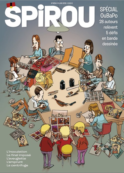 Spirou magazine cover of the special OuBaPo issue, with Spirou magically appearing from the table.