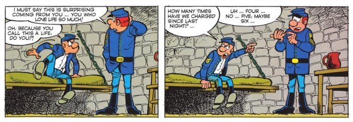 Blutch complains about the number of charges he takes in the Civil War in The Bluecoats v12
