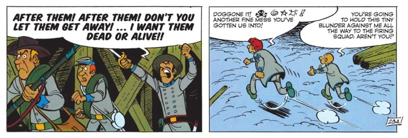 Sarge Chesterfield and Blutch run away from Confederate soldiers in The Bluecoats v12: The David