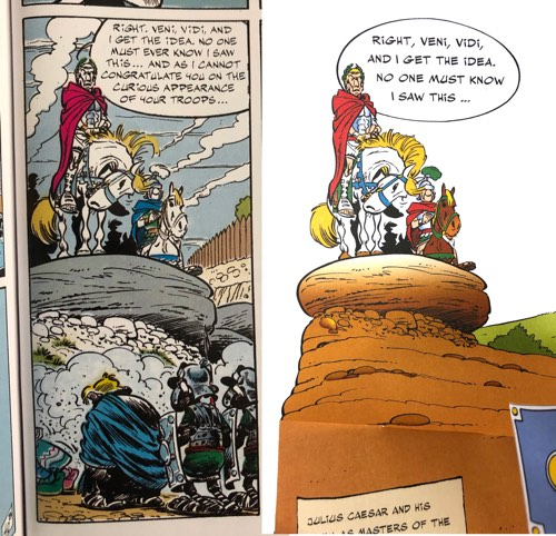 """""""Asterix on the Warpath"""" borrows elements from other books, like this Caesar example from """"Asterix and the Chieftain's Shield."""""""