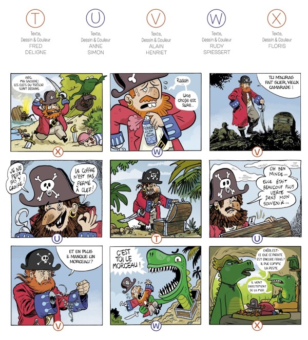 A nine panel grid page done by five cartoonists in an OuBaPo style