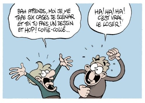 Fabcaro complains that the artist, Fabrice Erre, only has to draw one panel and copy and paste it five more times.  The writer should get paid more.