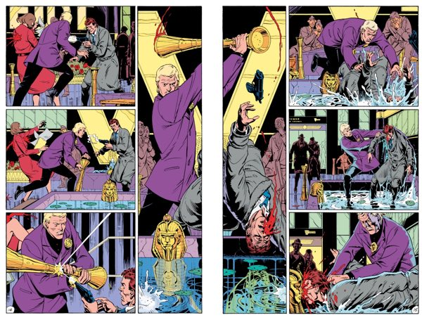 """Center layout from """"Watchmen"""" #5, the """"Fearful Symmetry"""" issue with the mirror image storytelling. By Alan Moore and Dave Gibbons."""