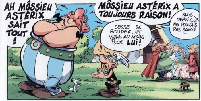 Carrere draws Obelix and Asterix and his friends