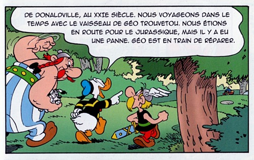 Donald Duck explains things to Asterix and Obelix