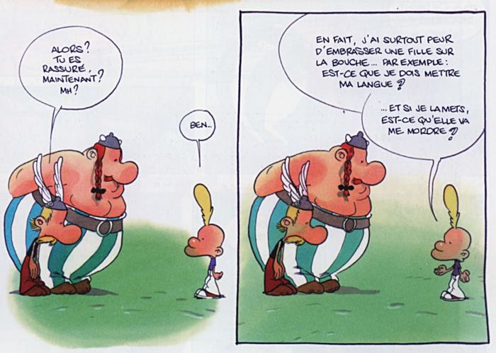 Zep draws Titeuf asking Asterix and Obelix about kissing a girl.