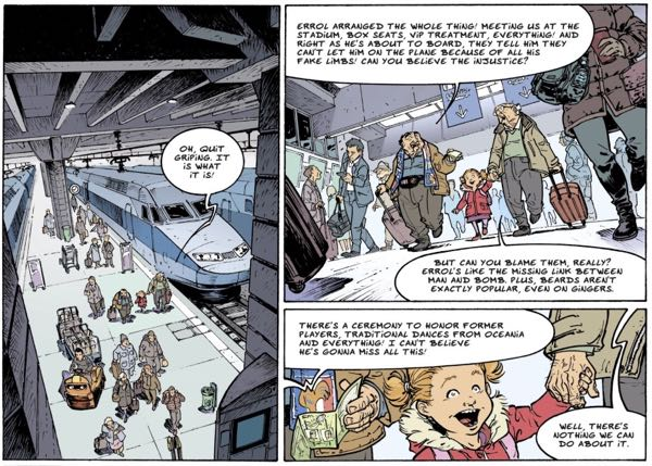 The Old Geezers walk through a train station. Artist Paul Cauuet does a great job changing angles from panel to panel to keep things interesting.