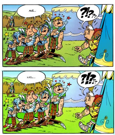 Papercutz brings up the Hail vs Ave debate in Asterix the Gaul