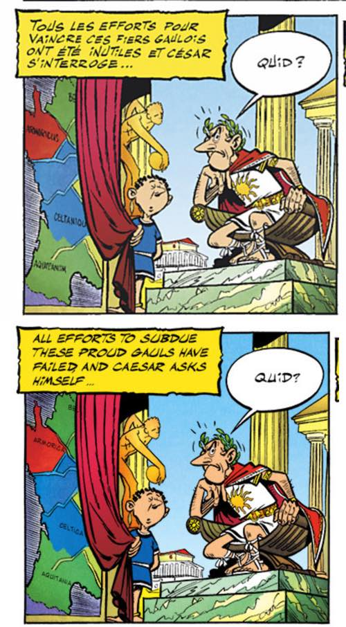 """Caesar asks """"What"""" in French and British."""