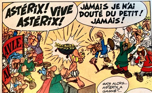 An example of Albert Uderzo's lettering in Asterix at the Olympic Games