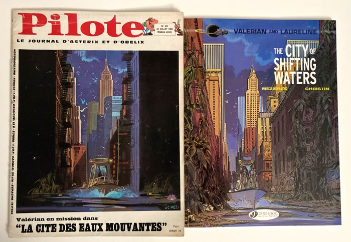 Valerian v1's cover side by side with the original Pilote Journal cover image