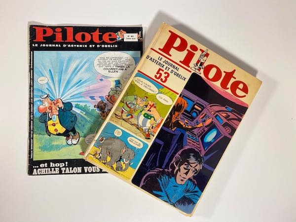 Size comparison between magazine and hardcover of Pilote