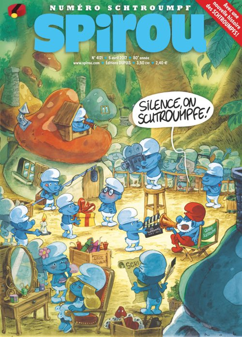 Nob of Dad fame draws The Smurfs for a 2017 Spirou cover (issue #4121)