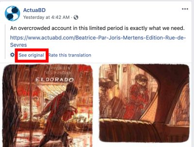Facebook automatically translates your post. You can see the original at this link.